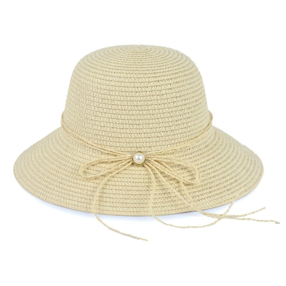 Chapéu Palha Bege Claro com Laço e Detalhe em Pérola