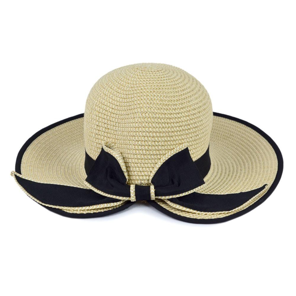 Chapéu Palha Bege Claro com Faixa e Laço