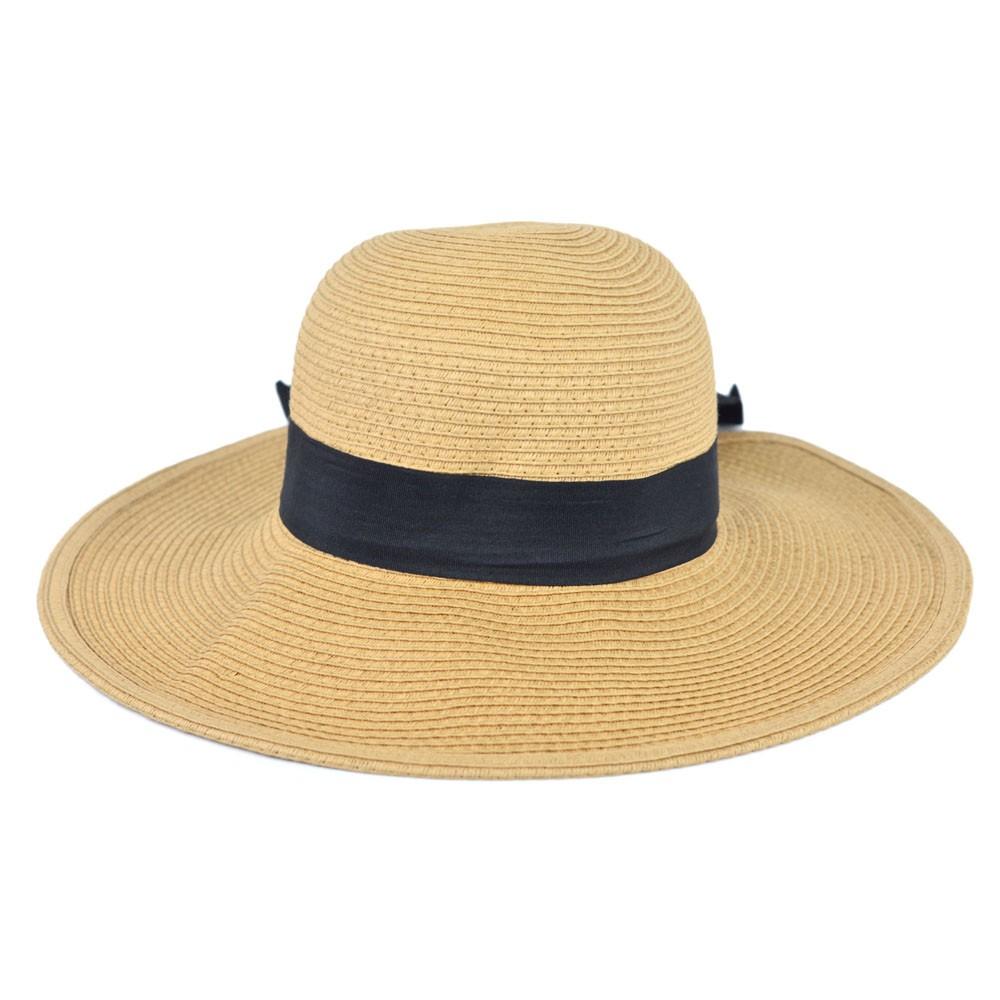 Chapéu Palha Bege com Faixa e Laço Preto