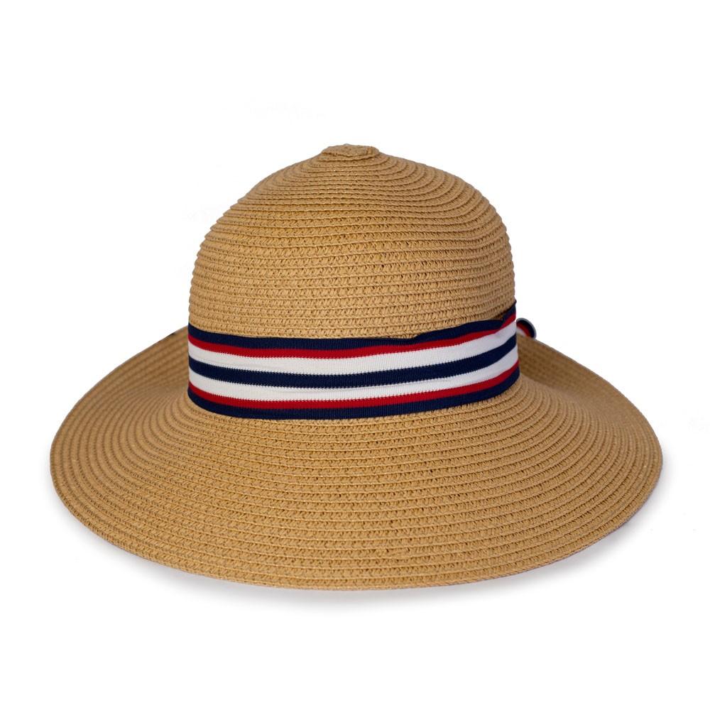 Chapéu de Praia com Faixa e Laço Listrado