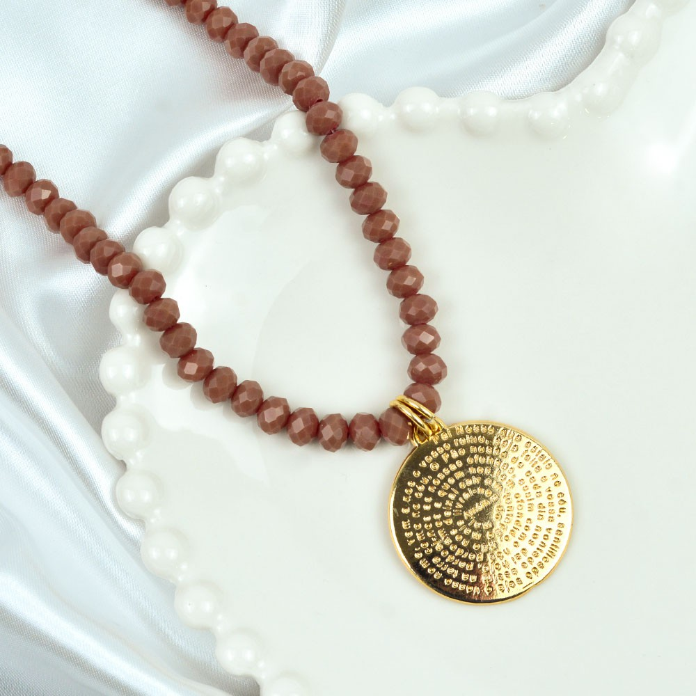 Colar Comprido Cristal Medalha Pai Nosso  REF:10