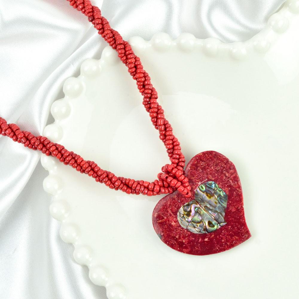 Colar miçangas Vermelhas Pingente Coração REF:117