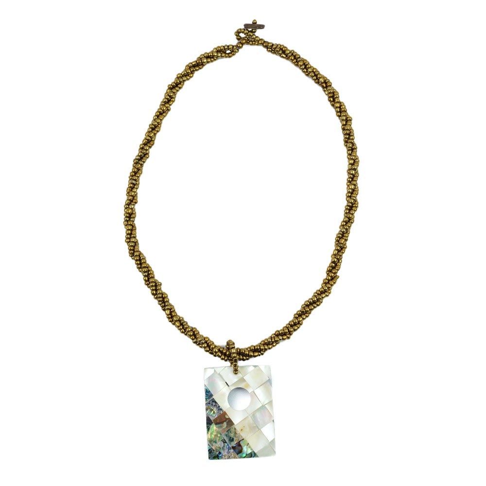 Colar Pedra Abalone Miçanga Dourada REF:108