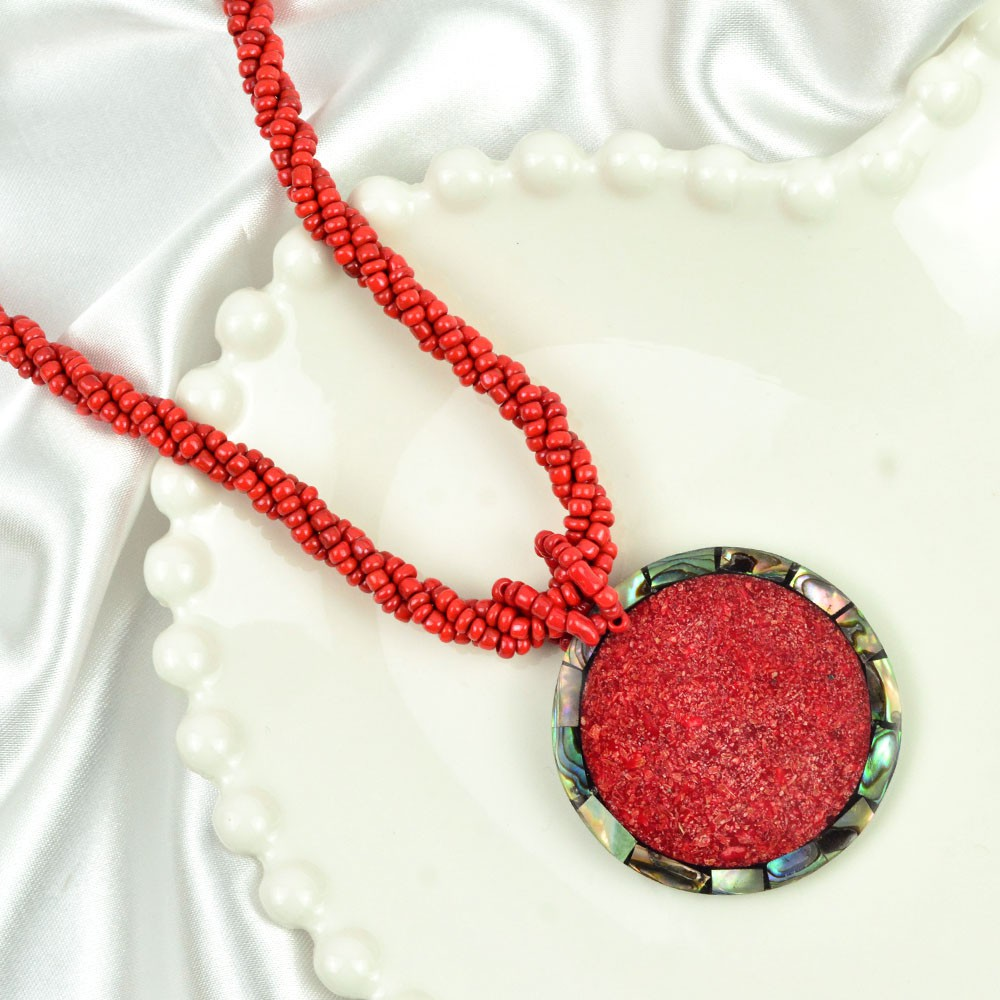Colar Vermelho Pingente Mandala Natural com Abalone REF:127