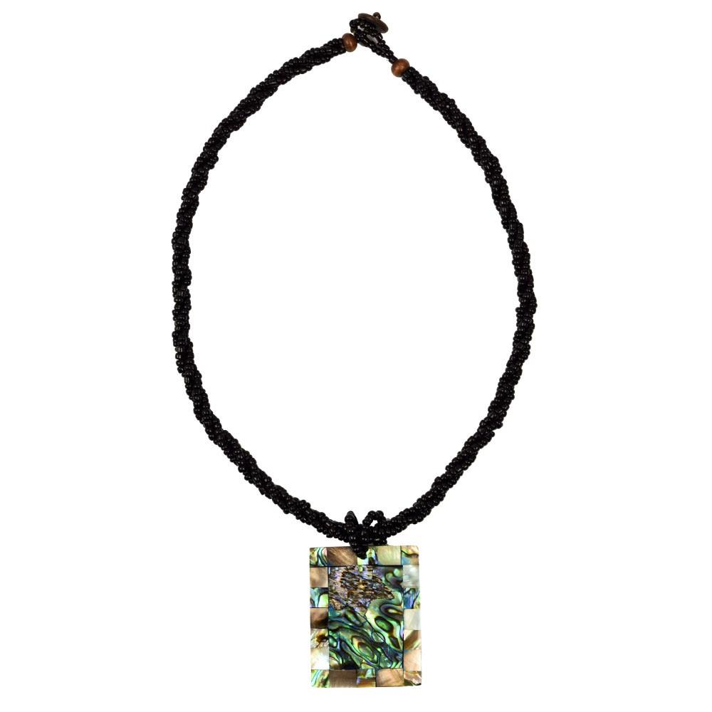Conjunto Colar e Brinco Retangular Pedra Natural  REF:104