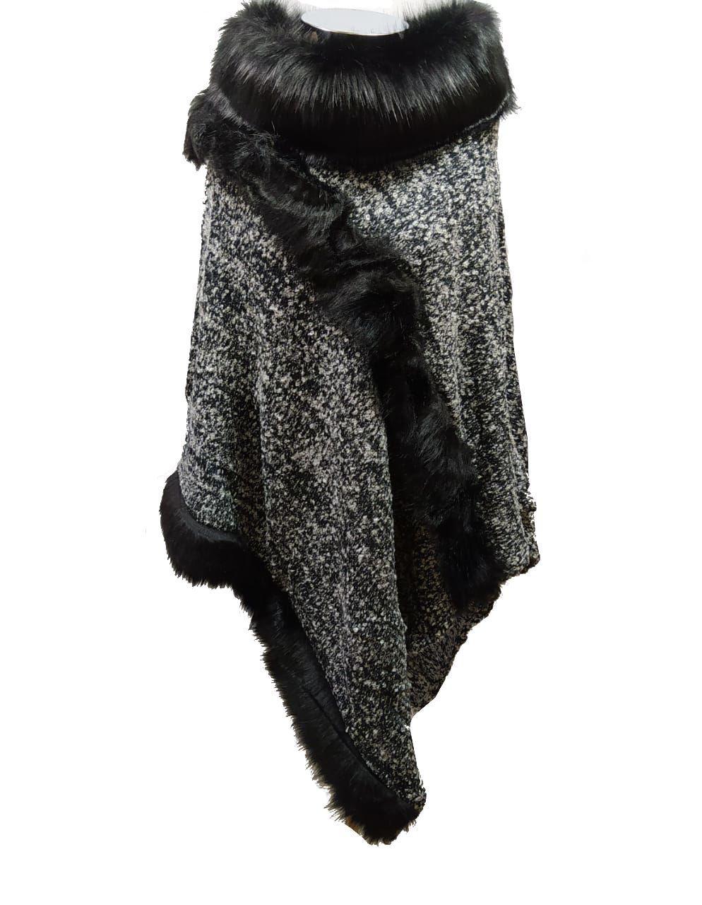 Poncho Feminino com Pelo Alto  REF:20716