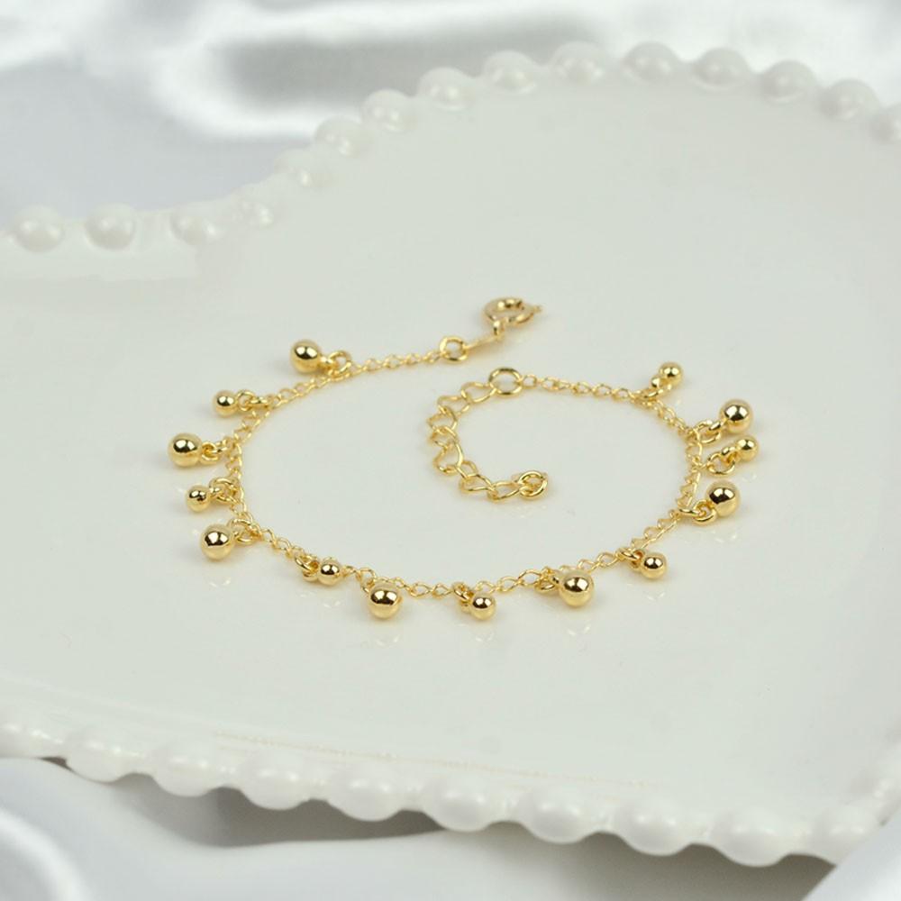 Pulseira Folheada Ouro com Pingentes Bolinhas REF:PO1594