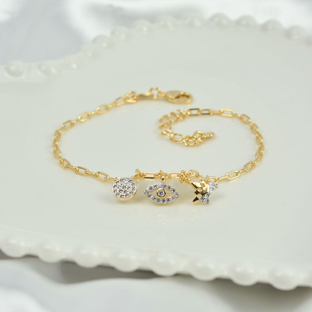 Pulseira Folheada Ouro com Pingentes Círculo, Olho e Coroa REF:PO1618