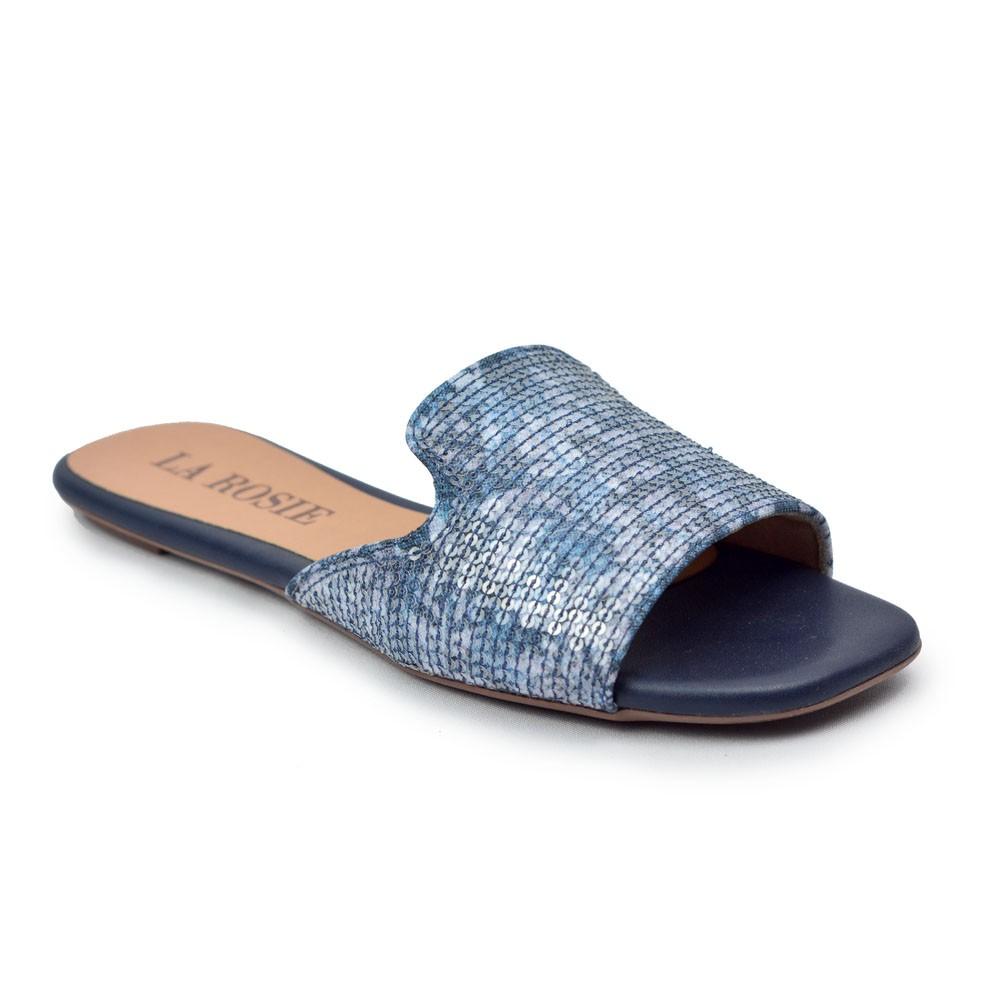 Rasteira Jeans com Aplicação Paetê