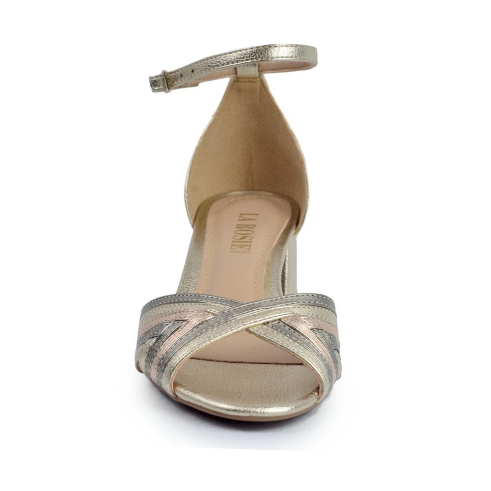 Sandália Metalizada com Tiras Trançadas REF:884351