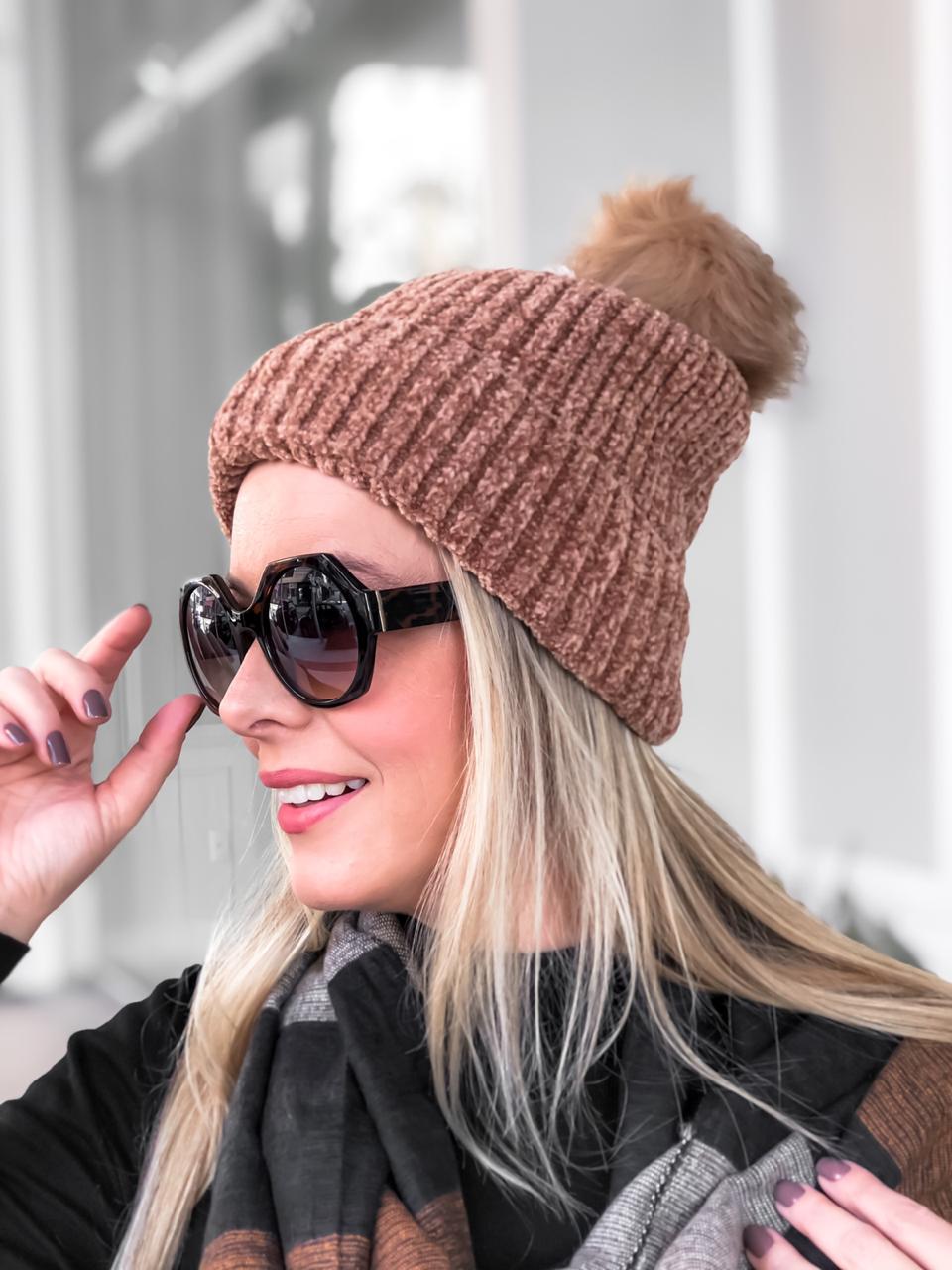 Touca Feminina Inverno Forrada e com Pompom REF:20766