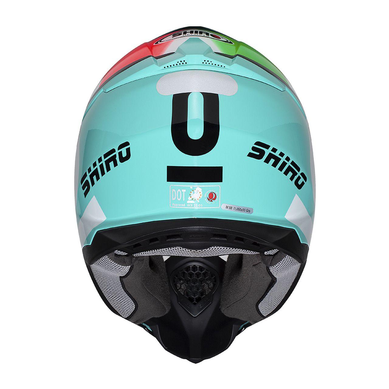 Capacete Shiro Motocross Off Road MX-917 Equipe Leopard Itália Azul