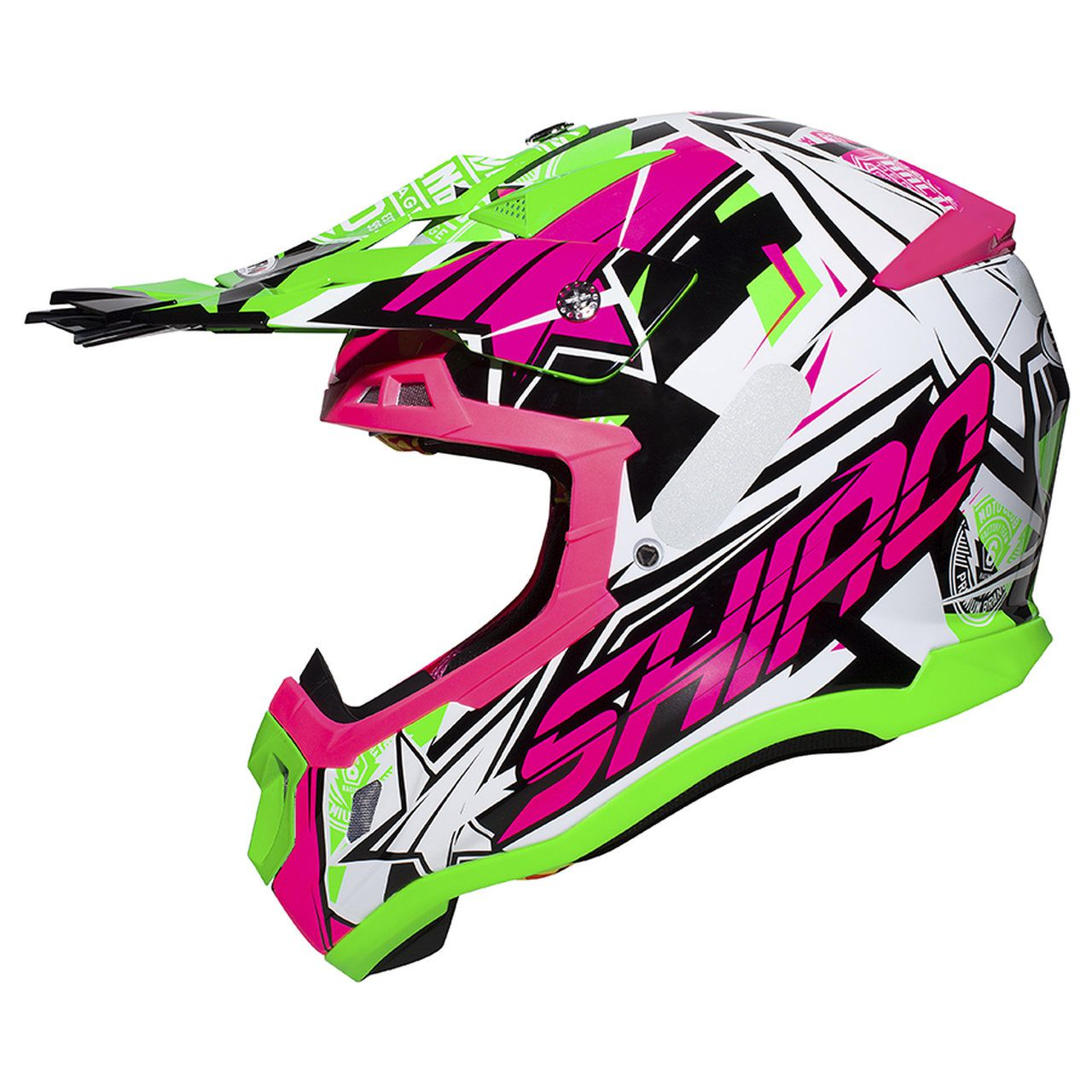 Capacete Shiro Motocross Off Road MX-917 Thunder III Branco Rosa e Verde