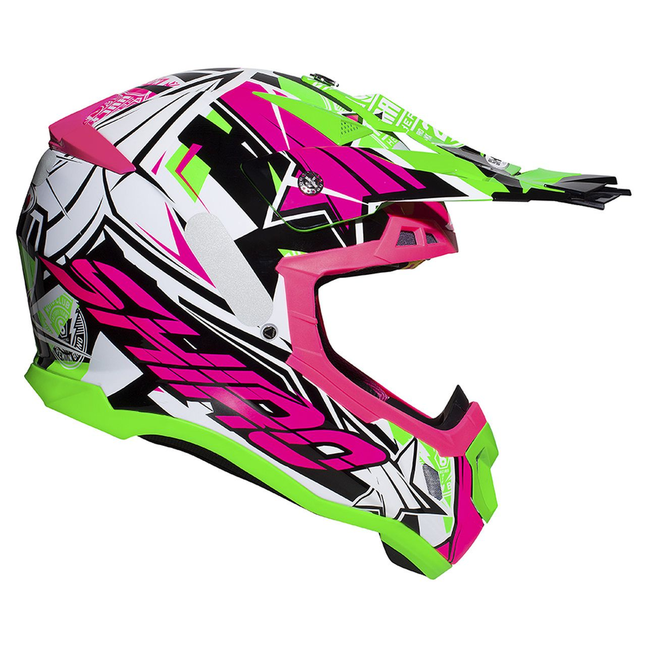 Capacete Shiro Motocross Off Road MX-917 Thunder III Branco Rosa e Verde