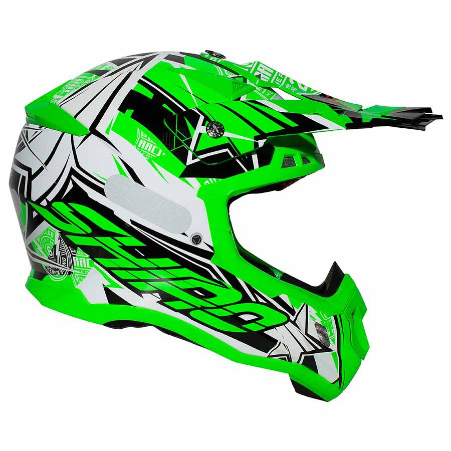 Capacete Shiro Motocross Off Road MX-917 Thunder III Verde Fluor