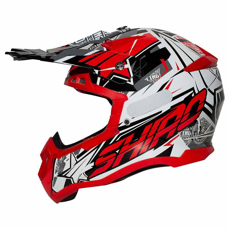 Capacete Shiro Motocross Off Road MX-917 Thunder III Vermelho