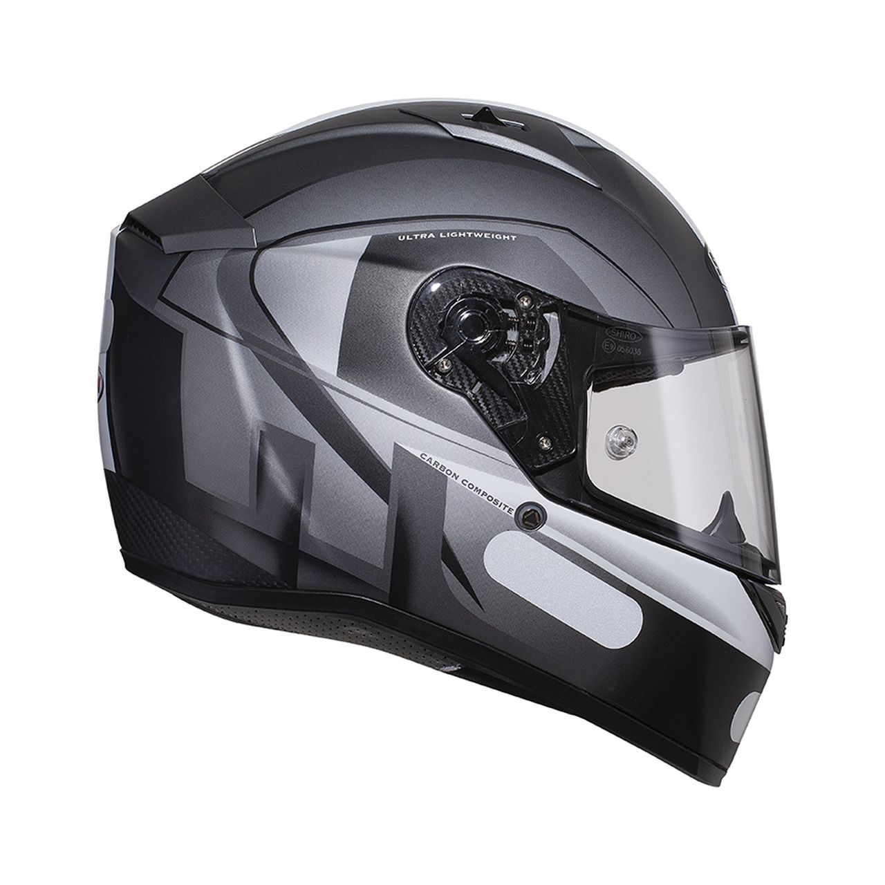 Capacete Shiro Speed Integral Racing Tricomposto SH-336 Raiser Cinza
