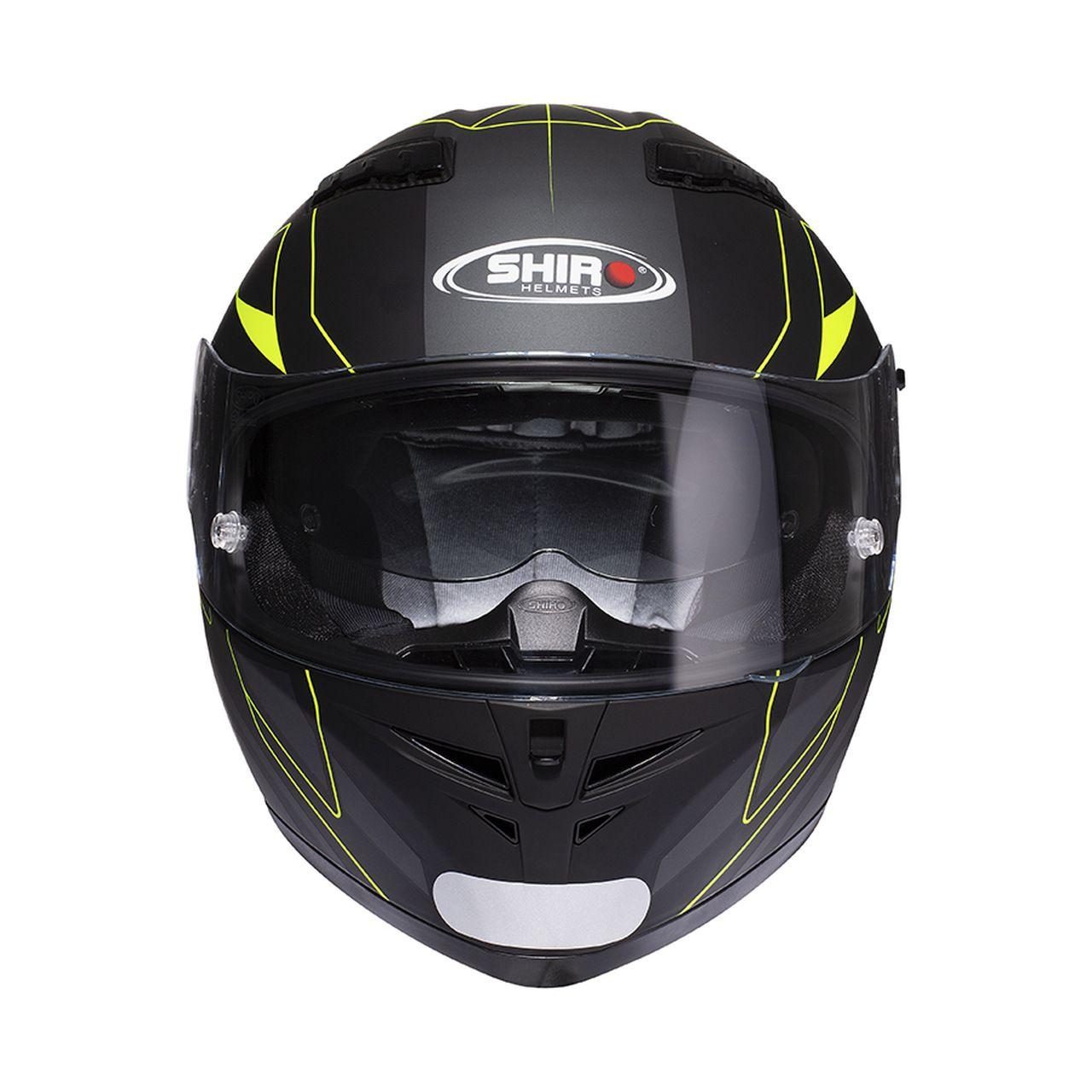 Capacete Shiro Integral Strada com Óculos Interno SH-600 Elite Preto Fosco e Amarelo