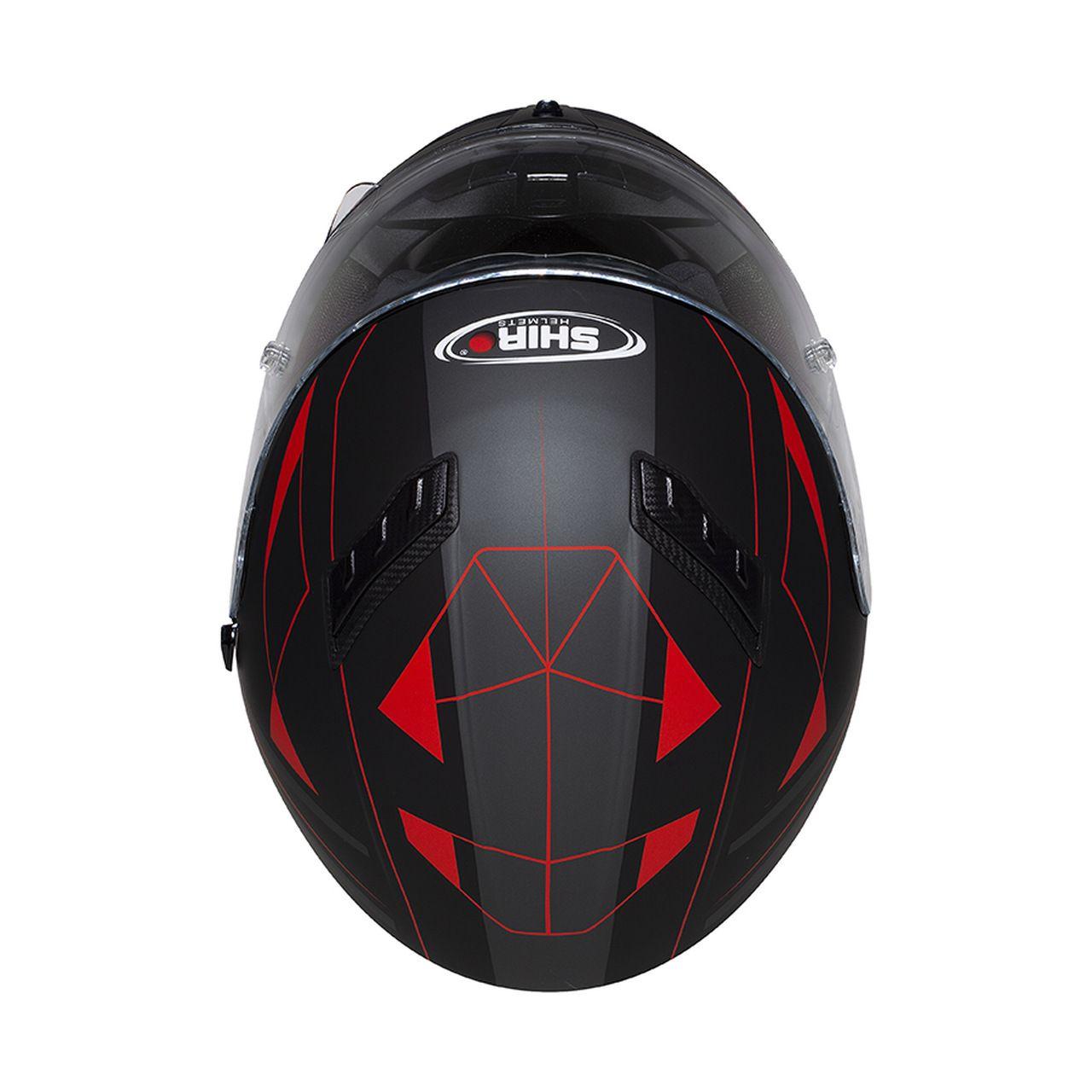 Capacete Shiro Integral Strada com Óculos Interno SH-600 Elite Preto Fosco e Vermelho