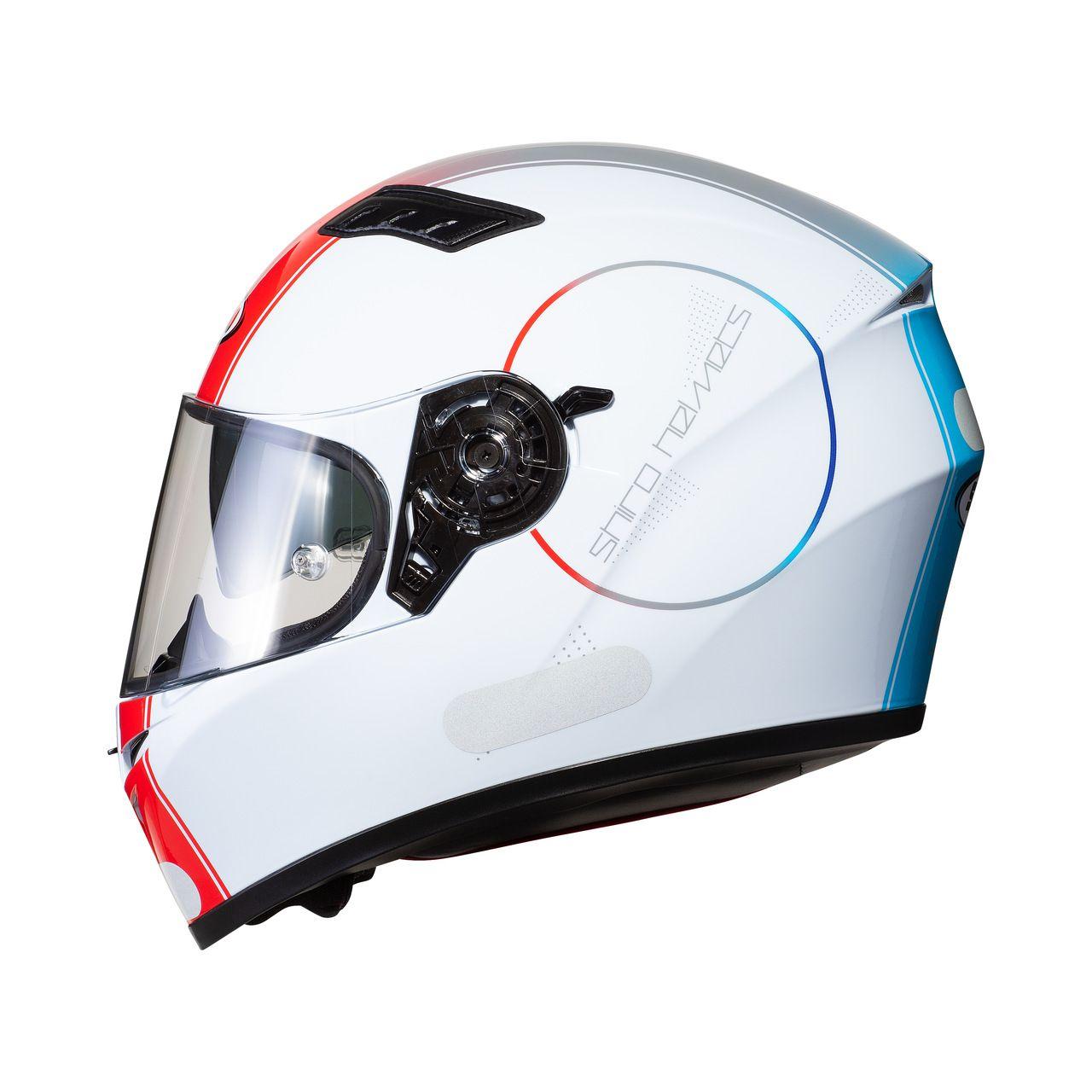 Capacete Shiro Integral Strada com Óculos Interno SH-600 Robotic Branco Vermelho e Azul