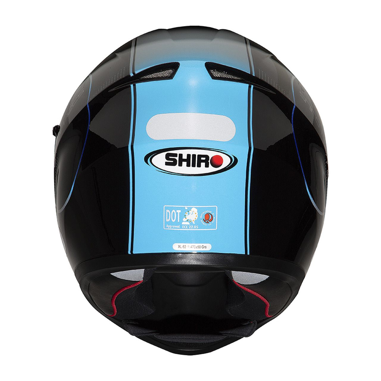 Capacete Shiro Integral Strada com Óculos Interno SH-600 Robotic Preto Vermelho e Azul