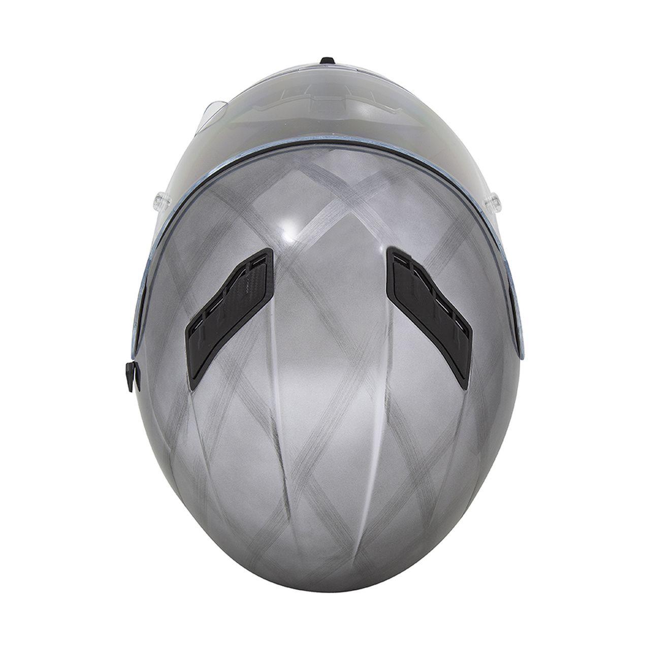 Capacete Shiro Integral Strada com Óculos Interno SH-600 Scratched Chrome Cromado Escovado