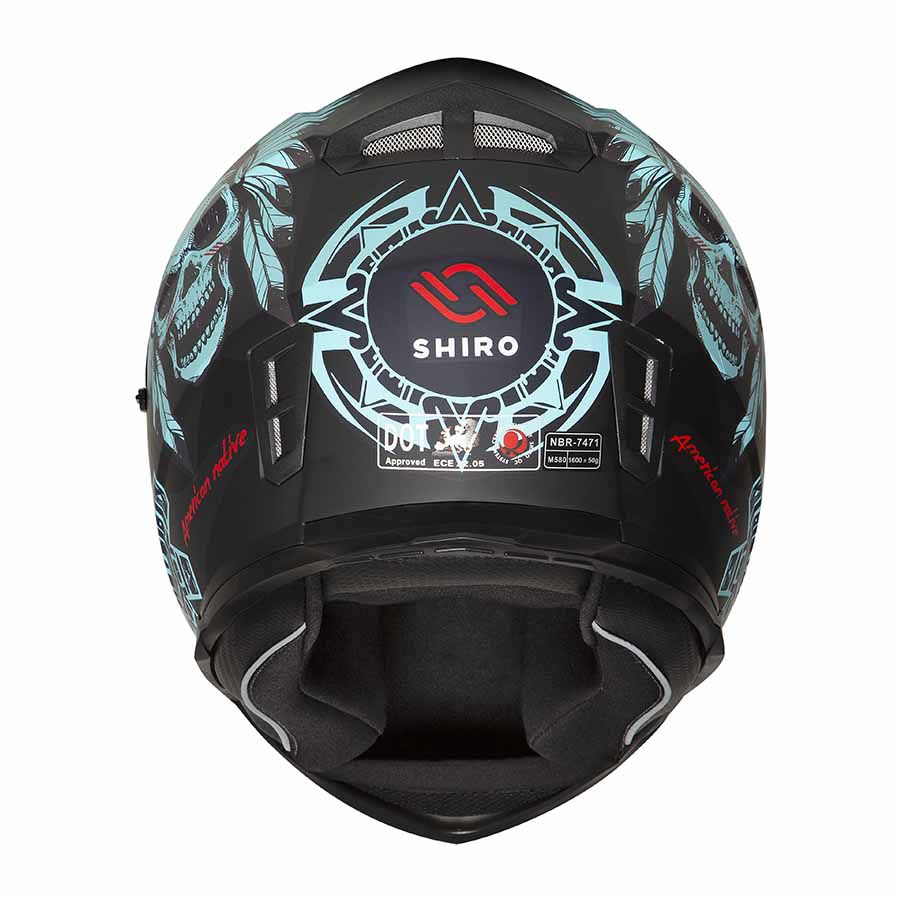 Capacete Shiro Integral City com Óculos Interno SH-881SV American Native Preto Fosco e Turquesa