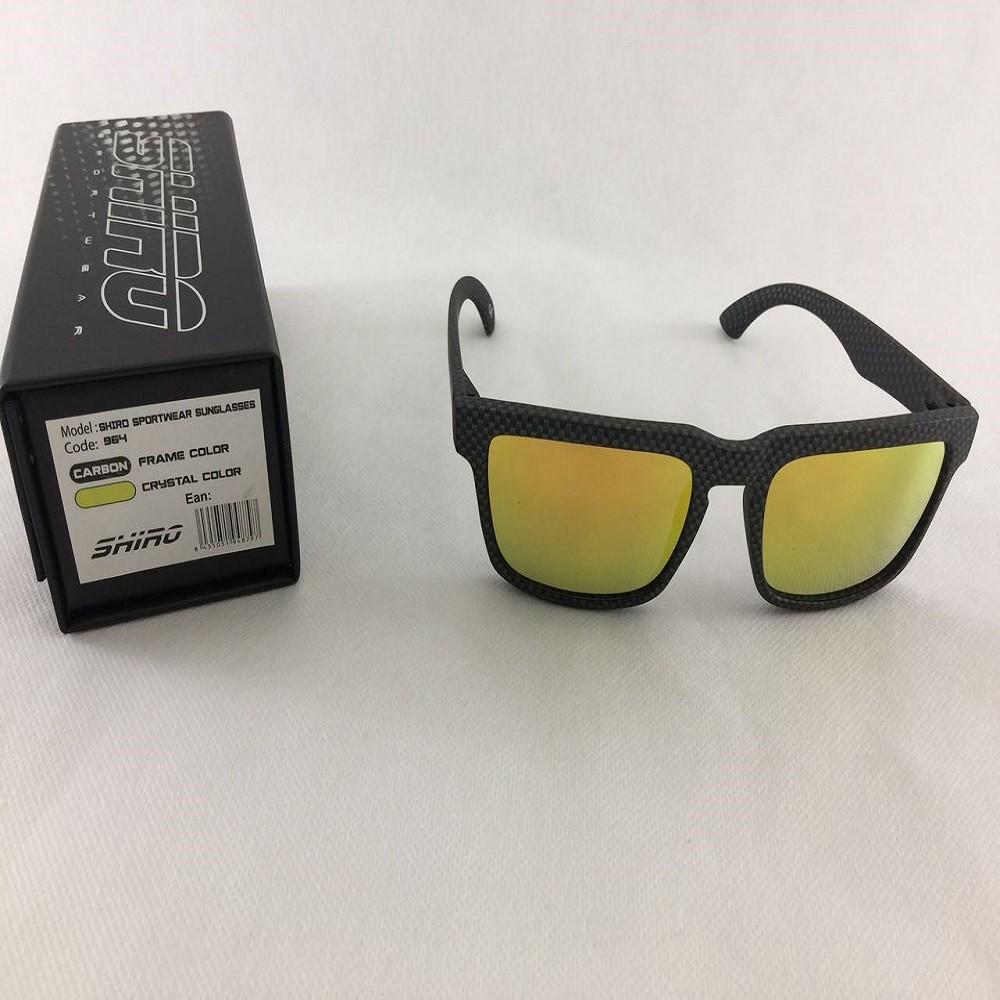 Óculos De Sol Haste Carbono Fosco Lente Dourado
