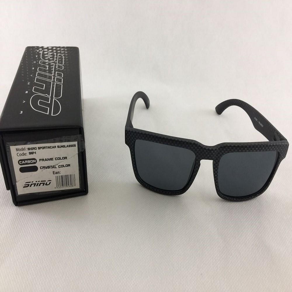 Óculos De Sol Haste Carbono Fosco Lente Preto