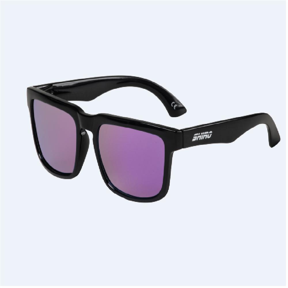 Óculos De Sol Haste Preto Brilho Lente Roxo