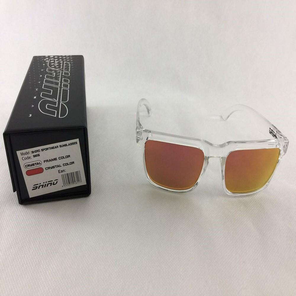 Óculos De Sol Haste Transparente Lente Vermelho