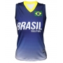 Camisa de Vôlei Brasil Retrô Azul 2008 - S/Nº - Feminina