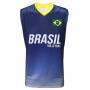 Camisa de Vôlei Brasil Retrô Azul 2008 - S/Nº - Masculina