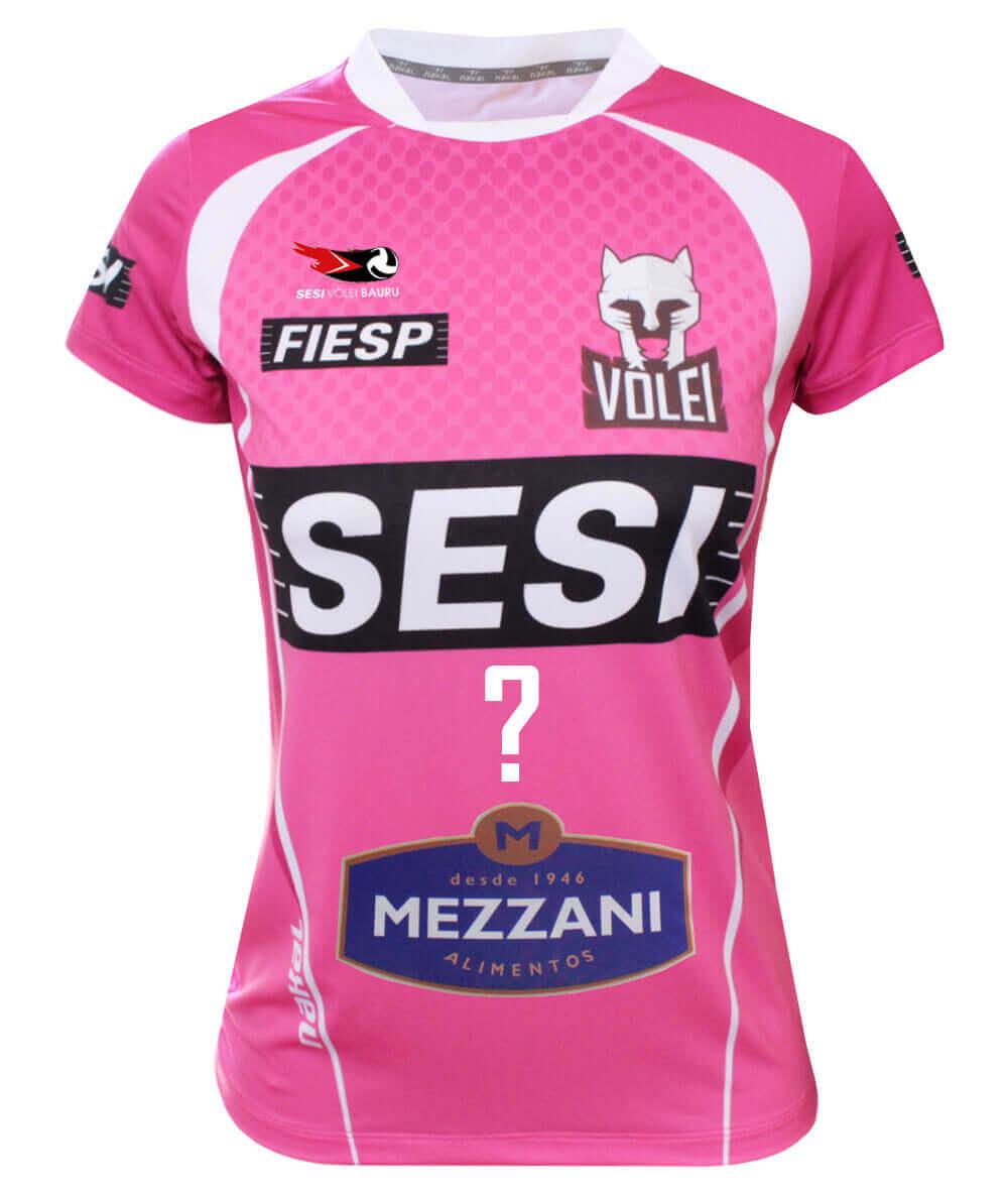 Camisa de Vôlei do Sesi Bauru 2020/21 Rosa - Personalizada - Feminina