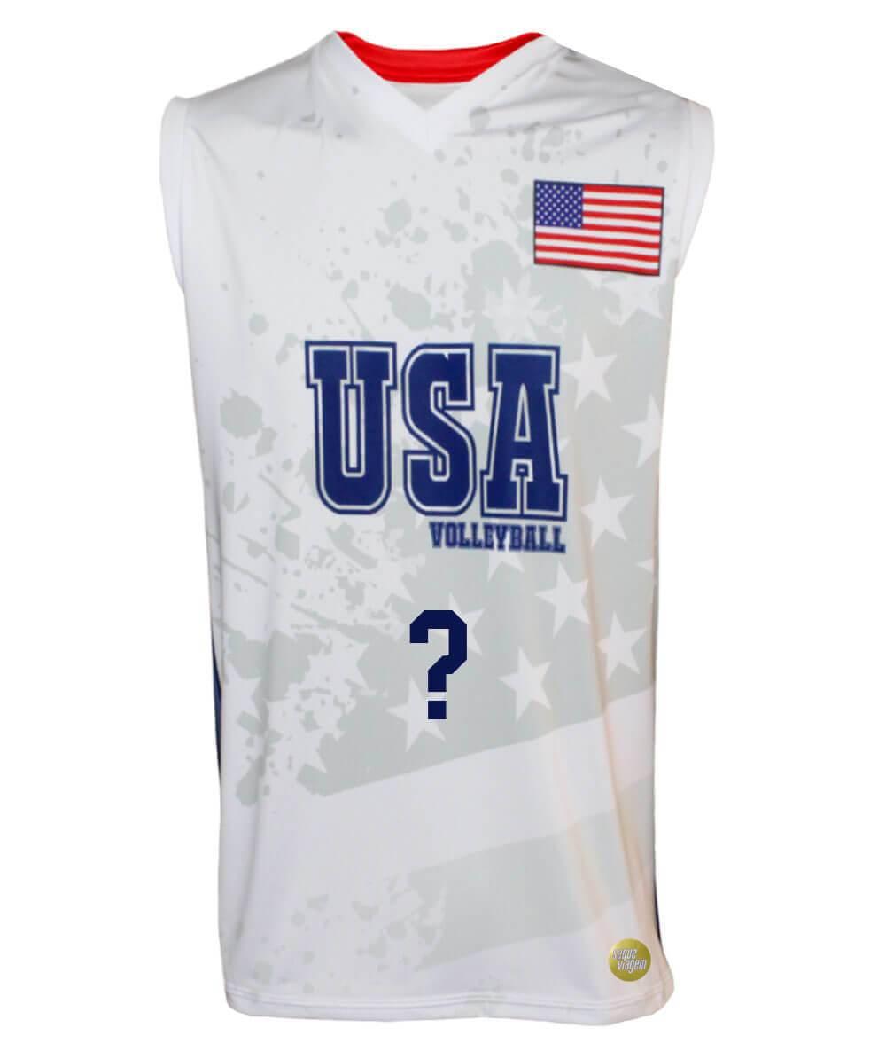 Camisa de Vôlei Estados Unidos 2018/19 Branca - Personalizada - Masculina