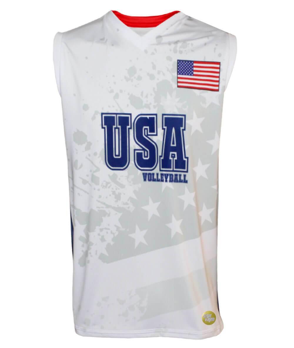 Camisa de Vôlei Estados Unidos 2018/19 Branca - S/Nº - Masculina