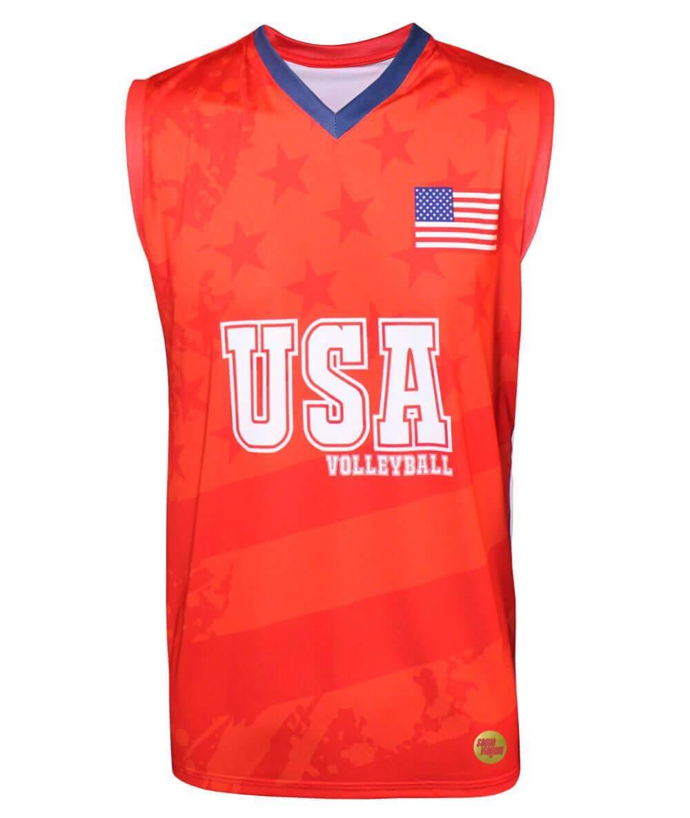 Camisa de Vôlei Estados Unidos 2018/19 Vermelha - S/Nº - Masculina