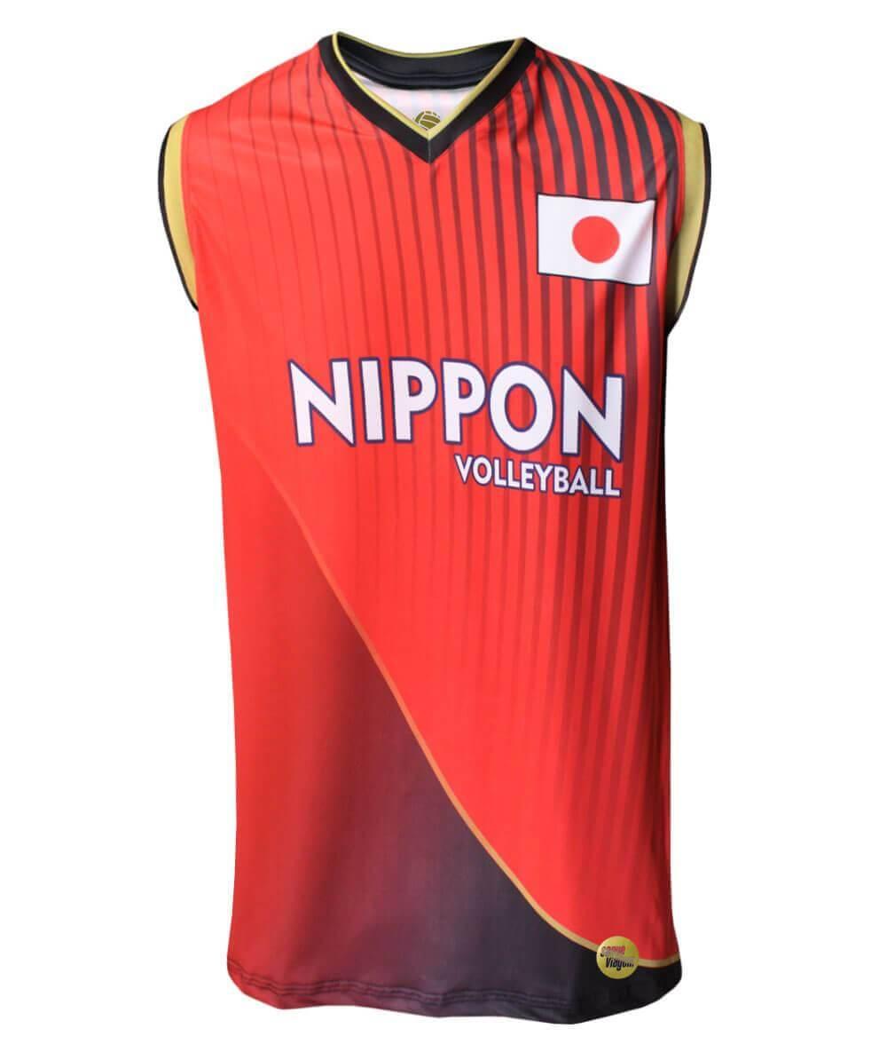 Camisa de Vôlei Japão 2018/19 Vermelha - S/Nº - Masculina
