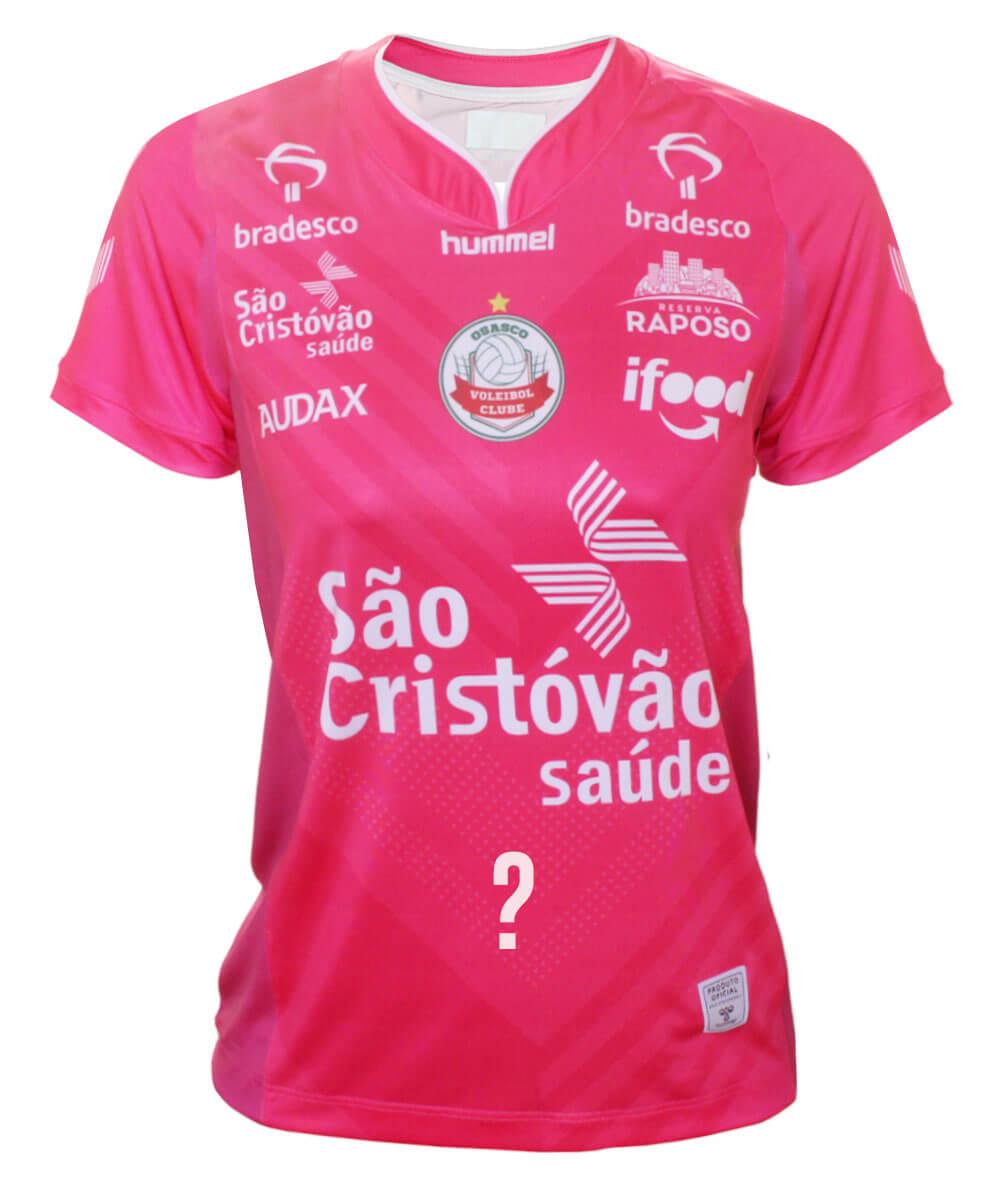 Camisa de Vôlei Osasco 2020/21 Rosa - Feminina - Personalizada