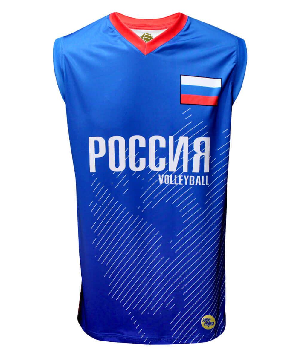 Camisa de Vôlei Rússia 2018/19 Azul - S/Nº - Masculina