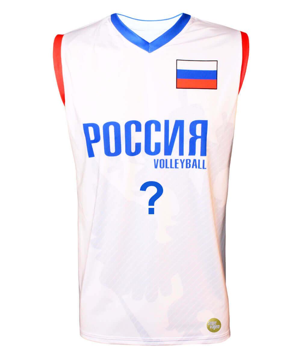 Camisa de Vôlei Rússia 2018/19 Branca - Personalizada - Masculina