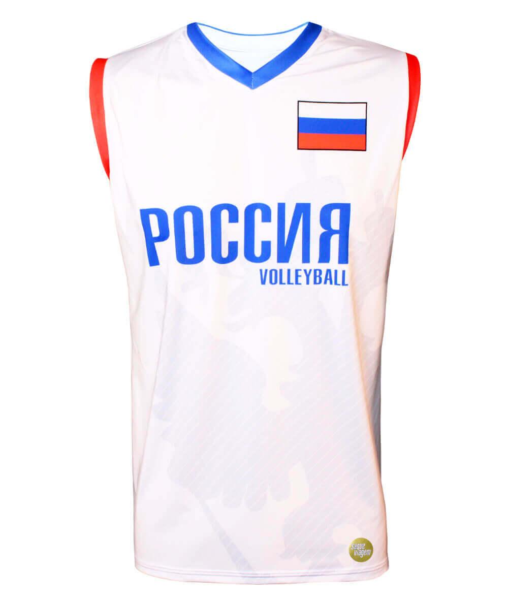Camisa de Vôlei Rússia 2018/19 Branca - S/Nº - Masculina