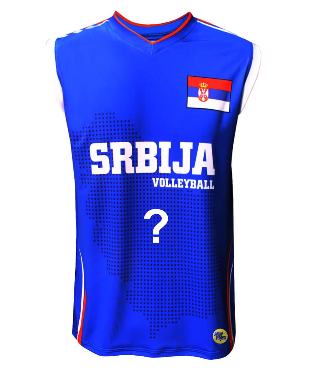 Camisa de Vôlei Sérvia 2018/19 Azul - Personalizada - Masculina