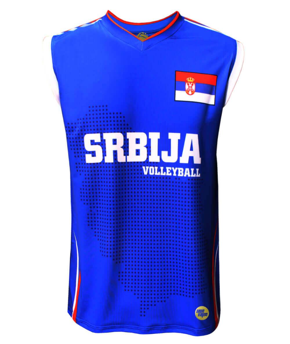 Camisa de Vôlei Sérvia 2018/19 Azul - S/Nº - Masculina