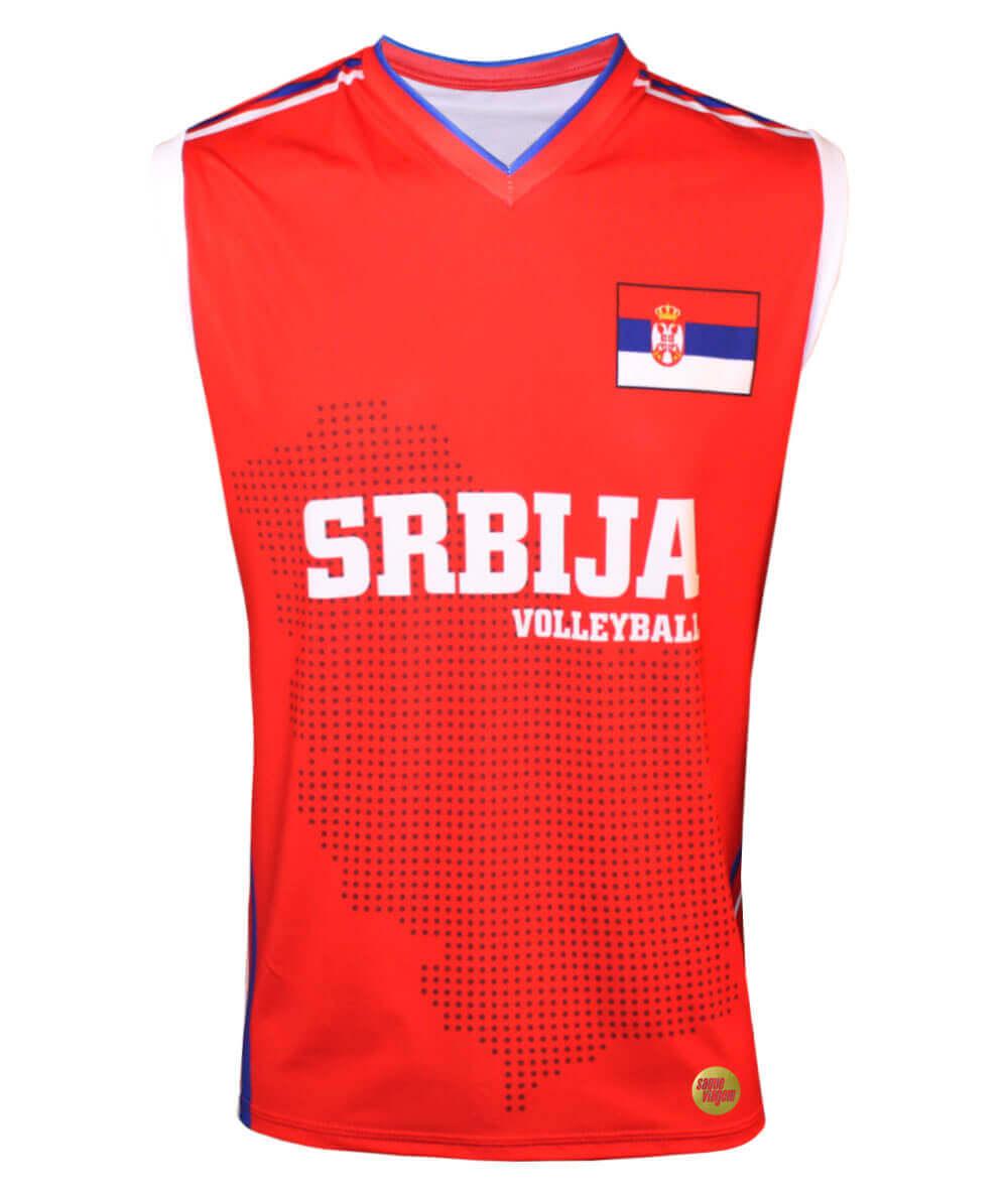 Camisa de Vôlei Sérvia 2018/19 Vermelha - S/Nº - Masculina