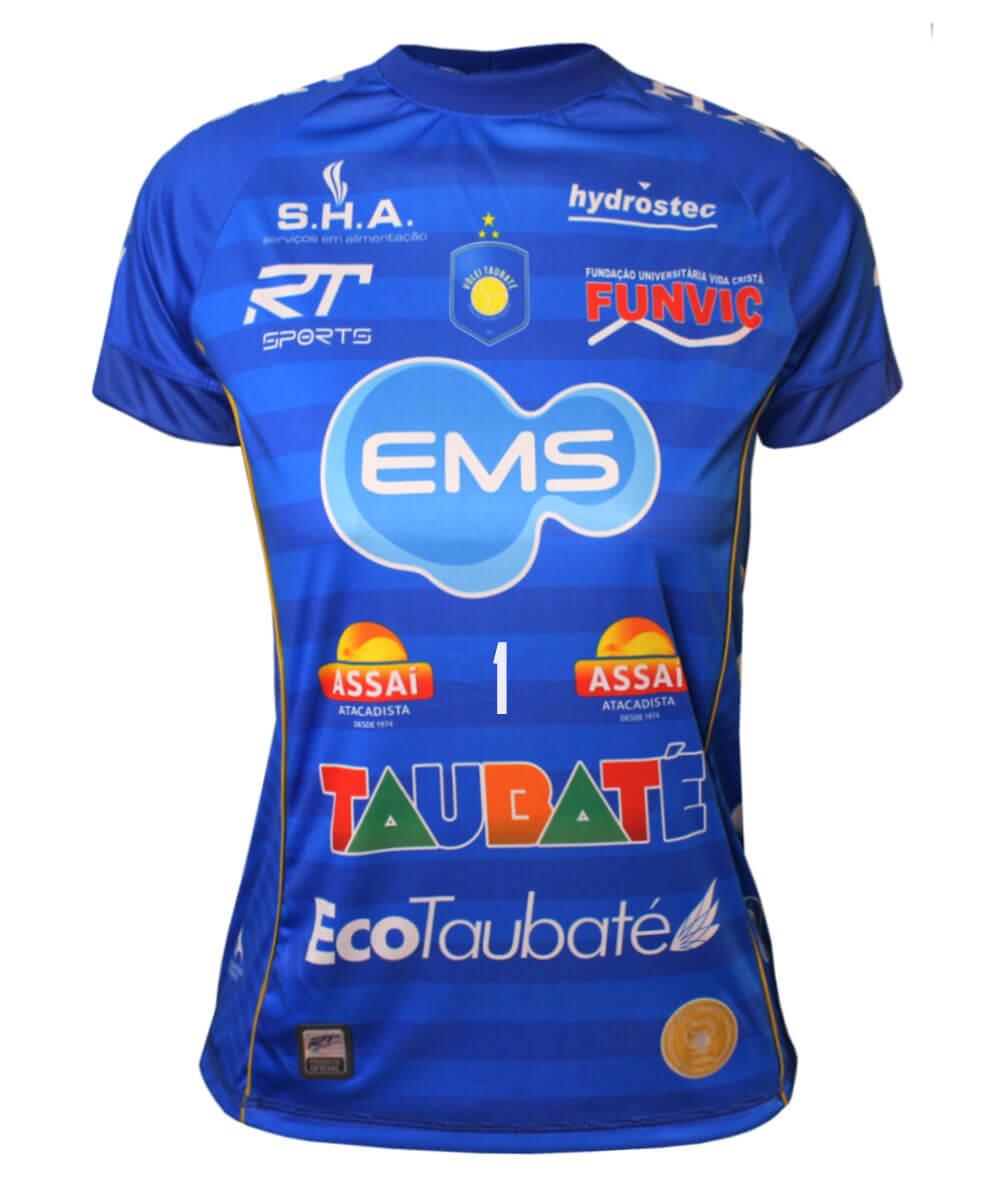 Camisa de Vôlei Taubaté 2019/20 Azul - N°1 Bruno - Feminina