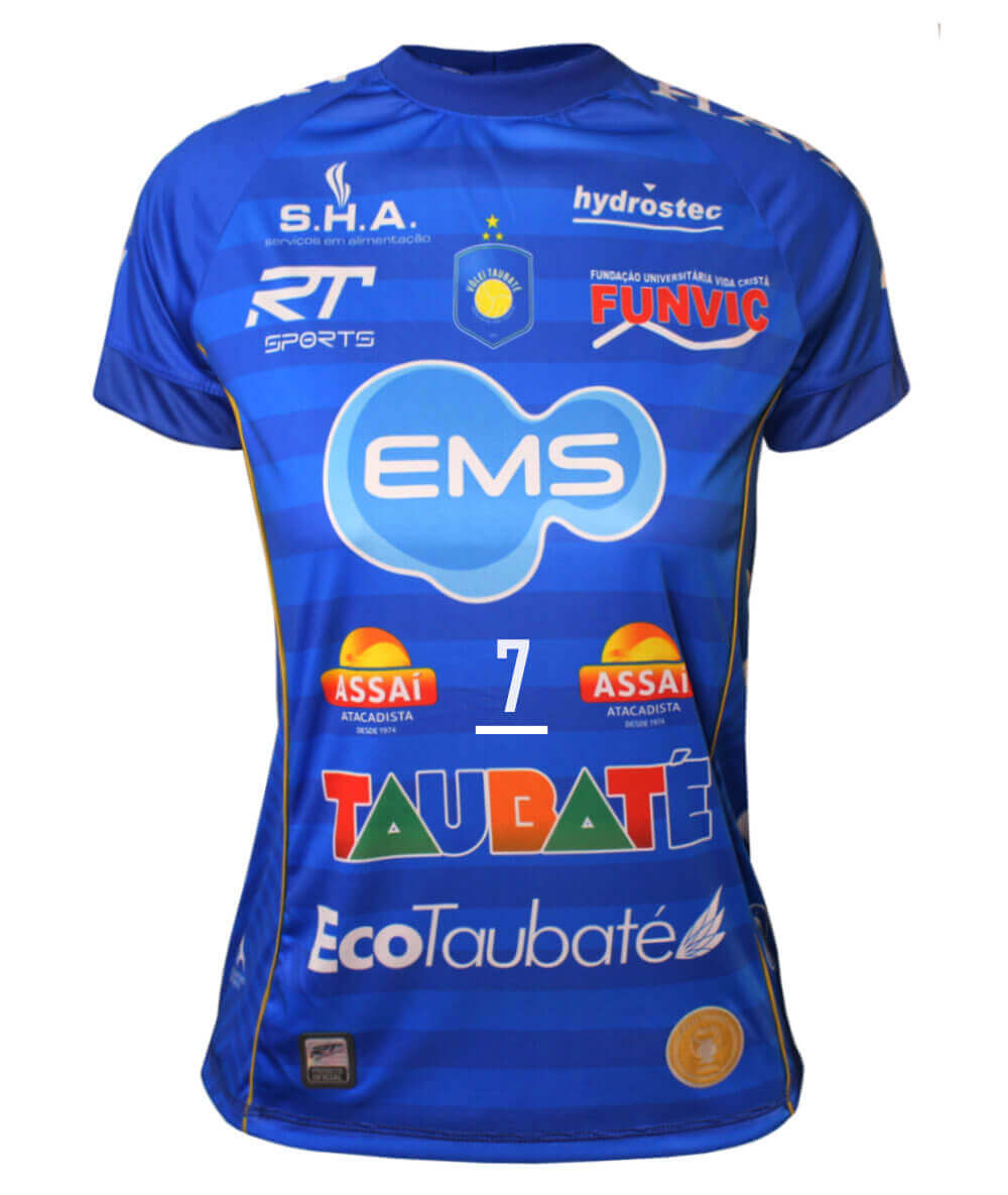 Camisa de Vôlei Taubaté 2019/20 Azul - N°7 Raphael - Feminina