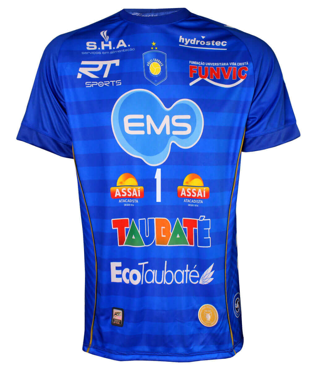 Camisa de Vôlei Taubaté 2019/20 Azul - Nº1 Bruno - Masculina