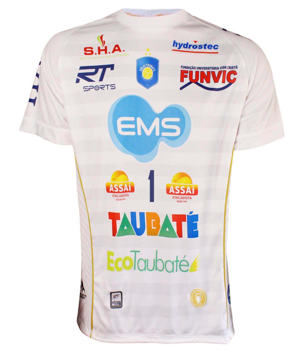 Camisa de Vôlei Taubaté 2019/20 Branca - Nº1 Bruno - Masculina