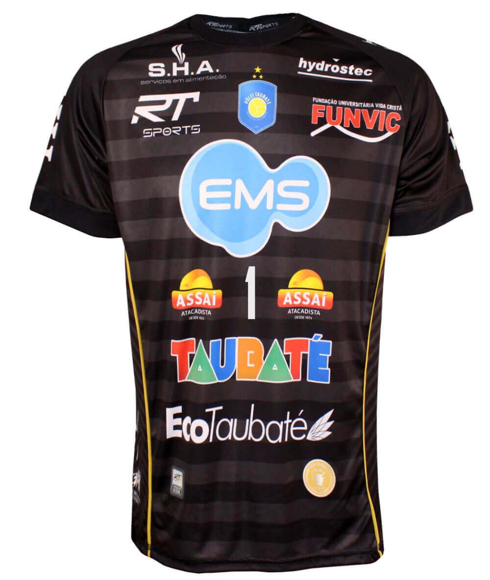Camisa de Vôlei Taubaté 2019/20 Preta - Nº1 Bruno - Masculina